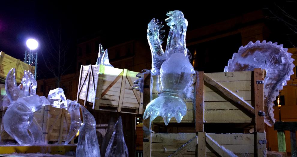 la grande station : sculpture sur glace