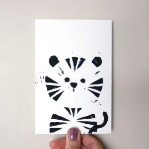 carte tigre linogravure