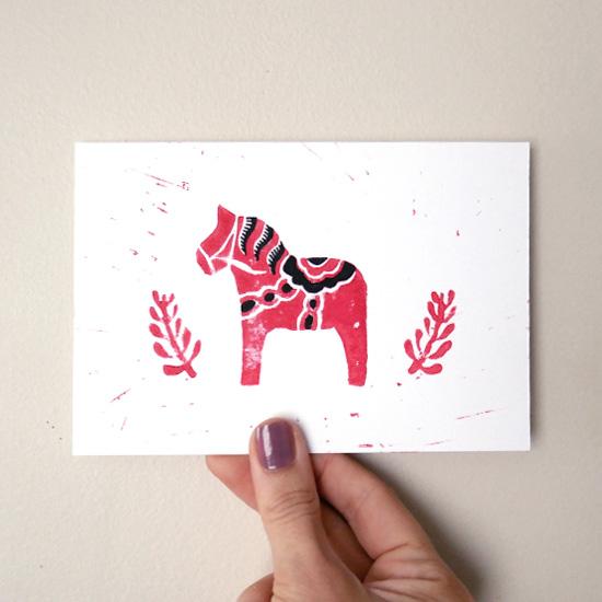 carte linogravure cheval suédois