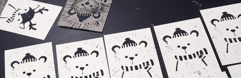 carte création linogravure