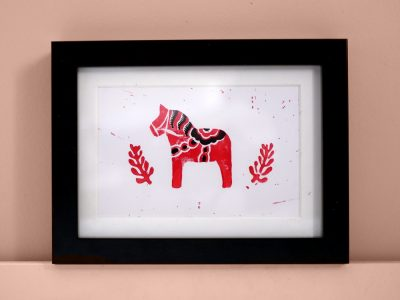 carte linogravure cheval dala