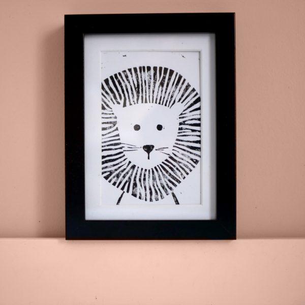 déco enfant carte linogravure lion