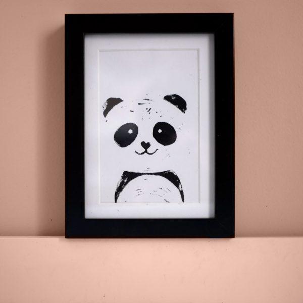 déco chambre enfant : carte linogravure panda