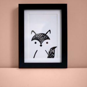 déco enfant : carte linogravure renard